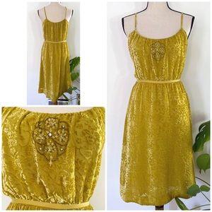 NWT Lithe Burnt Velvet Beaded Yellow Slip Dress 6